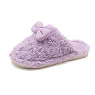 cheap Kids' Slippers-Girls' Shoes Rabbit Fur / PU(Polyurethane) Winter Comfort Slippers & Flip-Flops Walking Shoes Bowknot for Kids / Teenager Purple / Pink