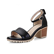 cheap -Women's Comfort Shoes PU(Polyurethane) Spring Sandals Chunky Heel Black / Beige / Pink