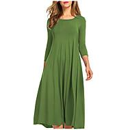 Women's Plus Size Daily Weekend Basic Slim Swing Dress - Solid Colored Pleated Patchwork High Waist Cotton Coffee Wine Sky Blue XL XXL XXXL