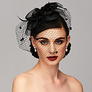 Χαμηλού Κόστους -Φτερό / Δίχτυ Kentucky Derby Hat / Γοητευτικά / Τεμάχια Κεφαλής με Φτερό / Φλοράλ / Λουλούδι 1pc Γάμου / Ειδική Περίσταση Headpiece