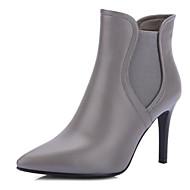 tanie Obuwie damskie-Damskie Fashion Boots Skóra nappa Zima Botki Szpilka Buty zamknięte Kozaczki / kozaki do kostki Czarny / Jasnoszary