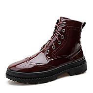 baratos Sapatos de Tamanho Pequeno-Homens Sapatos Confortáveis Couro Envernizado Outono Botas Preto / Vinho