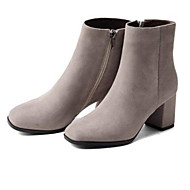 baratos Sapatos Femininos-Mulheres Fashion Boots Camurça Outono Botas Salto Robusto Dedo Fechado Botas Curtas / Ankle Preto / Cinzento Claro