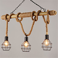 olcso -3-head fém ketrec 80cm vintage kender kötél bambusz medál fények loft kreatív nappali étterem ruhaüzlet lámpa