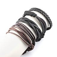 4pcs Ανδρικά Πολυεπίπεδο Wrap Βραχιόλια Δερμάτινα βραχιόλια Δημιουργικό Βίντατζ Μοντέρνο Μοντέρνα Βραχιόλια Κοσμήματα Μαύρο Για Δρόμος Εξόδου