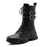 baratos Sapatos Femininos-Mulheres Curta/Ankle Pele Napa Outono Saltos Salto Baixo Dedo Apontado Botas Curtas / Ankle Flor de Cetim Preto