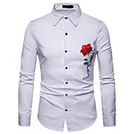 Herre - Ensfarvet / Blomstret / Farveblok Broderi Forretning / Basale Skjorte