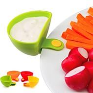 billiga Bordsservis-1pc dip klämma kök skål kit verktyg lilla rätter kryddklaff för tomatsås salt vinäger socker smak kryddor slumpmässigt
