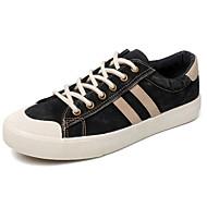 baratos Sapatos Masculinos-Homens Solas Claras Jeans Outono Casual Tênis Respirável Preto / Azul