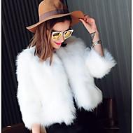 Mulheres Feriado Curto Casaco de Pêlo, Sólido Decote Redondo Manga Longa Pêlo Sintético Branco / Preto XL / XXL / XXXL