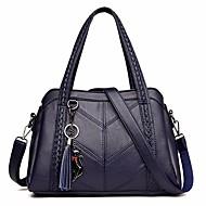 baratos Bolsas Tote-Mulheres Bolsas Pele Tote Mocassim Azul Escuro / Roxo / Vinho