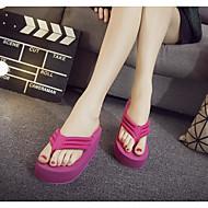 baratos Sapatos Femininos-Mulheres Tecido Verão Conforto Chinelos e flip-flops Salto Plataforma Ponta Redonda Vermelho / Verde / Rosa claro