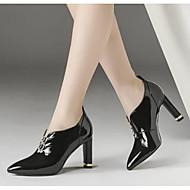 baratos Sapatos Femininos-Mulheres Fashion Boots Pele Napa Outono Botas Salto Robusto Dedo Fechado Botas Curtas / Ankle Branco / Preto