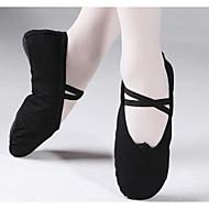 billige Ballettsko-Jente Ballettsko Lerret / Bomull Flate / Joggesko Flat hæl Dansesko Svart / Rød / Rosa