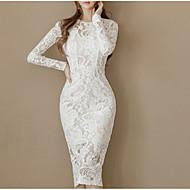 Mulheres Sofisticado Delgado Calças - Sólido Branco, Renda Branco / Para Noite / Sexy