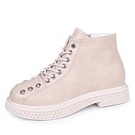 Χαμηλού Κόστους Γυναικεία Παπούτσια-Γυναικεία Fashion Boots PU Φθινόπωρο & Χειμώνας Καθημερινό Μπότες Περπάτημα Χαμηλό τακούνι Στρογγυλή Μύτη Μποτίνια Μαύρο / Μπεζ