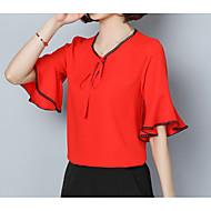 V-hals Dame - Ensfarvet Bluse