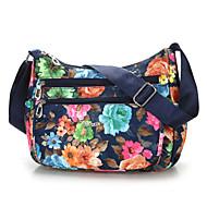 Dame Poser Nylon Skulderveske Blomstermønster Blå / Svart / Regnbue