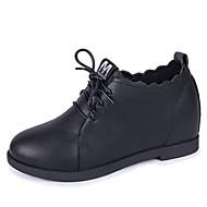 baratos Sapatos Femininos-Mulheres Sapatos Confortáveis Couro Ecológico Outono Casual Oxfords Salto Plataforma Ponta Redonda Preto / Bege