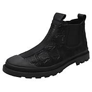 baratos Sapatos de Tamanho Pequeno-Homens Coturnos Lona Outono & inverno Vintage / Formais Botas Manter Quente Botas Curtas / Ankle Preto