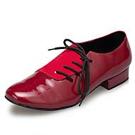 billige Moderne sko-Herre Moderne sko Lakklær Joggesko Tvinning Tykk hæl Dansesko Mørkerød