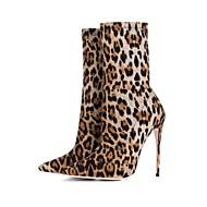 baratos Sapatos Femininos-Mulheres Fashion Boots Tecido elástico Primavera / Outono & inverno Vintage Botas Salto Agulha Dedo Apontado Botas Cano Médio Estampa Animal Leopardo / Casamento / Festas & Noite