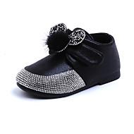 baratos Sapatos de Menina-Para Meninas Sapatos Couro Ecológico Primavera & Outono / Primavera Verão Conforto / Botas da Moda Botas Caminhada Pedrarias / Velcro / Pom Pom para Infantil Preto / Vermelho / Rosa claro