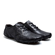 tanie Obuwie męskie-Męskie Skórzane buty Skóra Jesień i zima Casual Oksfordki Antypoślizgowe Czarny / Brązowy