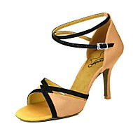 billige Sko til latindans-Dame Sko til latindans Sateng Høye hæler Slim High Heel Dansesko Rosa / Mandel / Naken / Ytelse / Lær / Trening