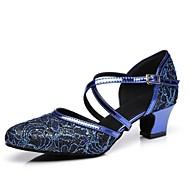 billige Moderne sko-Dame Moderne sko Syntetisk Høye hæler Spenne / Blonder Tykk hæl Dansesko Rød / Blå