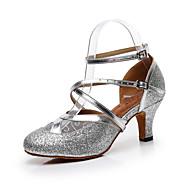 billige Kustomiserte dansesko-Dame Moderne sko PU Sandaler Glimmer Slim High Heel Kan spesialtilpasses Dansesko Gull / Svart / Sølv