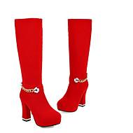 Kadın's Ayakkabı Süet Sonbahar Kış Çizmeler Düz Taban Günlük için Siyah / Kırmzı