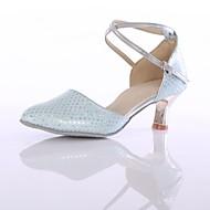 billige Moderne sko-Dame Moderne sko Fuskelær Høye hæler Tvinning Kubansk hæl Kan spesialtilpasses Dansesko Blå
