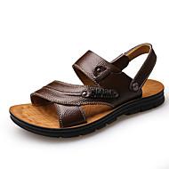 tanie Obuwie męskie-Męskie Komfortowe buty Skóra bydlęca Lato Casual Sandały Oddychający Czarny / Kawowy / Brązowy