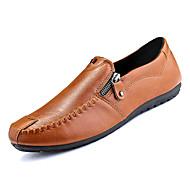 baratos Sapatos Masculinos-Homens Sapatos Confortáveis Couro Ecológico Outono Casual Mocassins e Slip-Ons Não escorregar Preto / Marron