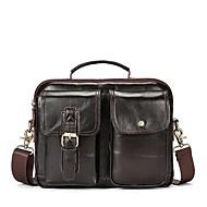 baratos Bolsas de Ombro-sacos de homens couro de napa bolsa de ombro zíper marrom escuro / marrom