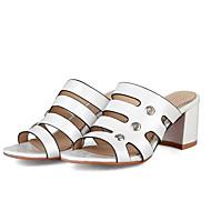 baratos Sapatos Femininos-Mulheres Sapatos Confortáveis Couro Ecológico Verão Sandálias Salto Robusto Dourado / Branco / Rosa claro