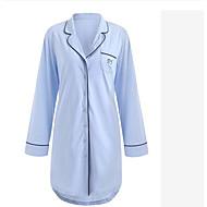 Herre / Dame Krave Chemise Pyjamas Ensfarvet