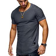 Χαμηλού Κόστους -Ανδρικά T-shirt Βασικό Μονόχρωμο Στρογγυλή Λαιμόκοψη / Κοντομάνικο