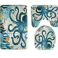cheap Mats & Rugs-3 Pieces Modern Bath Mats 100g / m2 Polyester Knit Stretch Animal Irregular Bathroom Creative