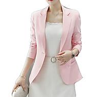 Femme Travail Normal Blazer, Couleur Pleine Col de Chemise Manches Longues Polyester Noir / Rose Claire / Jaune L / XL / XXL / Mince