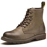 baratos Sapatos Masculinos-Homens Fashion Boots Pele Napa Inverno Clássico / Casual Botas Manter Quente Botas Cano Médio Preto / Khaki