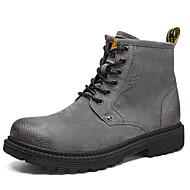 billige Herresko-Herre Fashion Boots Læder Vinter Vintage / Afslappet Støvler Hold Varm Støvletter Sort / Grå / Grøn