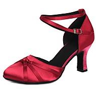 billige Kustomiserte dansesko-Dame Moderne sko Sateng Høye hæler Sløyfe / Spenne Kubansk hæl Kan spesialtilpasses Dansesko Fuksia