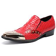 tanie Obuwie męskie-Męskie formalne Buty Skóra nappa Jesień Casual / W stylu brytyjskim Mokasyny i buty wsuwane Antypoślizgowe Czarny / Czerwony / Impreza / bankiet