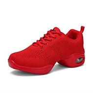 Dámské Taneční tenisky Síťka Tenisky Barevně dělené Rovná podrážka Obyčejné Taneční boty Červená