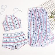 Per donna Essenziale / Boho All'americana Bianco ferretto Slip brasiliano Vita alta Bikini Costumi da bagno - A strisce / Fantasia geometrica Con stampe M L XL / Sexy
