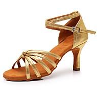 Dame / Pige Sko til latindans Syntetisk læder / laklæder Sandaler / Hæle Spænde Cubanske hæle Kan tilpasses Dansesko Guld