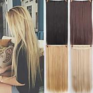 Sentetik Genişlemeler Düz Sentetik Saç 22 inç Ek saç Klips İçeri / Dışarı 1 Parça sentetik İnfertilite Kadın's Günlük Giyim