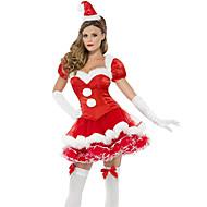 Julemands Dragt uniformer Kostume Julekjole Dame Voksen Gymnasium Kjoler Jul Jul Halloween Karneval Festival / Højtider Udklædning Rød Ensfarvet Sexet kvinde